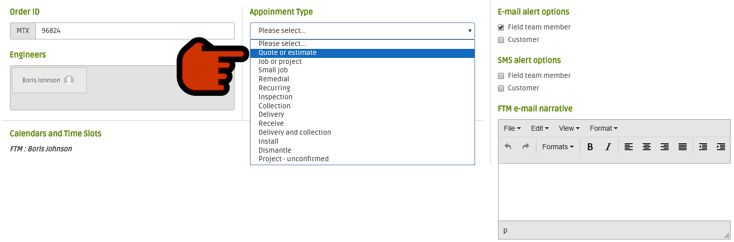 Select the appointment type