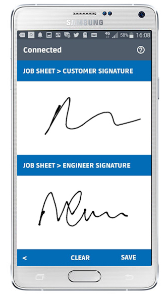 The customer signature in an app