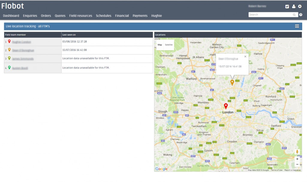 Live location tracking. See your field engineers on a map